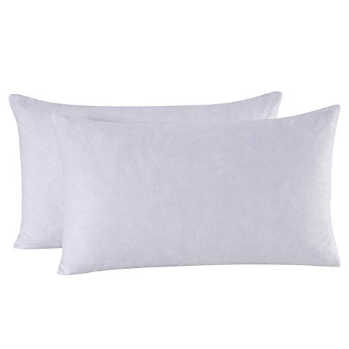 Set of 2, 95% Feather 5% Down Decorative Throw Pillow Insert, 100% Cotton, 12x20 Inch