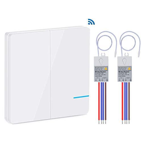Kit de interruptor y receptor de luz inalámbrico de Yblntek, sin WiFi Requiere control remoto para interiores de 1900 pies, 160 pies, con luz led, interruptor de panel inalámbrico IP54