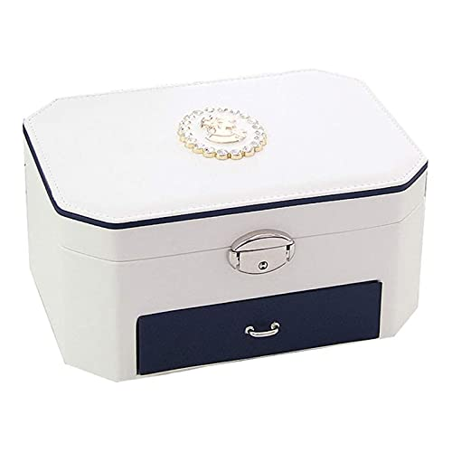 MWXFYWW High End Modern Style Simple Jewelry Box Portable Mini Suitcase for Hand Jewelry Storage Box with Mirror for Necklace Earrings Bracelets