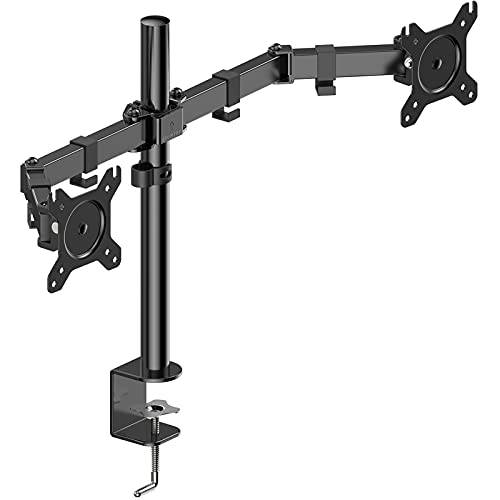 ATUMTEK Monitor Mount - Dual Monitor Arm for 13'-27' Inch or 17.6 Lbs Each Arm, Swivel VESA 75x75mm or 100x100mm, Heavy Duty Fully Adjustable Dual Monitor Stand Mount for Computer Screens