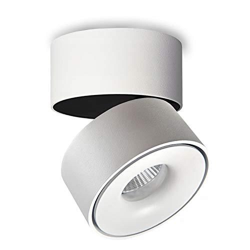 JVS Aufbaustrahler Aufbauleuchte Deckenleuchte Aufputz MONAKO MINI LED 8W Warmweiß 230V IP20 rund weiss schwenkbar Strahler Deckenlampe Aufbau-lampe Downlight aus Aluminium - eingebaute Led-Lampen