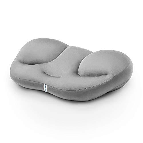 Pamura - Air Sleep - Kopfkissen - ergonomisches Kissen - 8 Millionen Airballs - gegen Nackenschmerzen - waschmaschinenfest - Abnehmbarer Bezug (hellgrau)