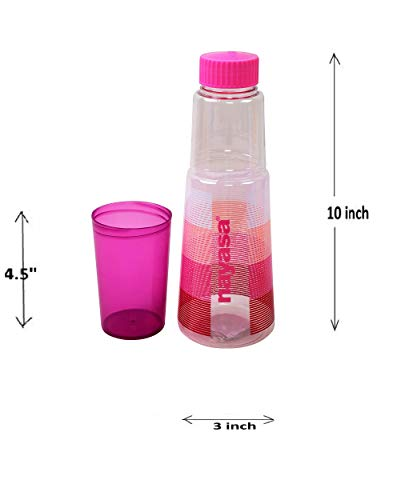 Nayasa Plastic PET Water Bottle With Glass 1000ml (MULTICOLOUR, 4PC)