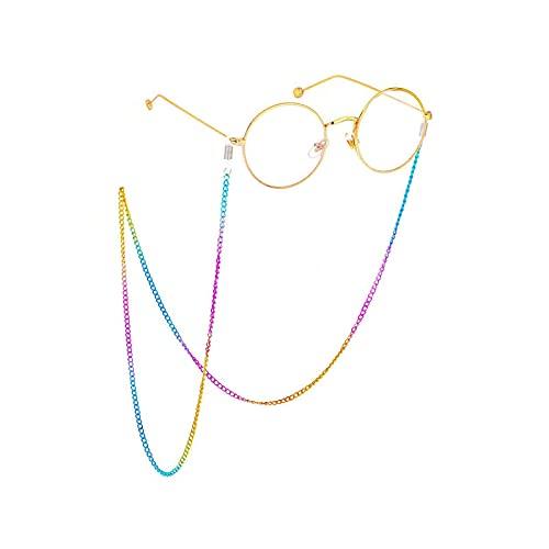 Cordón para gafas, cadena creativa colorida, cadena de metal, unisex, diseño de arco iris