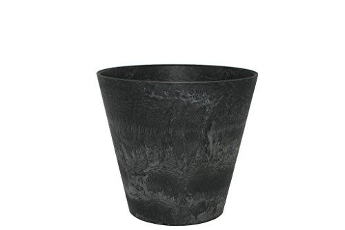 Artstone Pflanzgefäß Pflanzkübel Claire, frostbeständig und leichtgewichtig, Schwarz, 27x24cm
