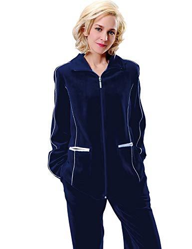 RAIKOU Home Set Conjunto Informal para Mujer, Conjunto de Culotte de Pijama de Terciopelo, Ropa Deportiva para Correr de Terciopelo, Cremallera y Cinta(Azul Noche,48-50)