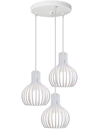 iDEGU - Lampadario a sospensione moderno, in metallo, a forma di gabbia, da soffitto, per camera da letto, soggiorno, cucina, sala da pranzo, ristorante, diametro 20 cm, colore: bianco