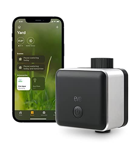Eve Aqua Controlador inteligente de riego para la app Home de Apple y Siri, riega automáticamente con horarios programados, fácil de usar, acceso remoto, no requiere pasarela, Bluetooth, HomeKit