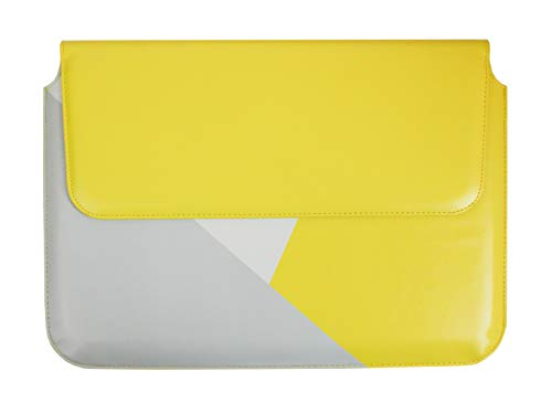 emartbuy Gelb Grau Premium-PU Leder Magnetisch Folio Brieftasche Hülle Abdeckung Sleeve 11,6 Zoll - 13,5 Zoll Geeignet Für Die Unten Aufgeführten Geräte