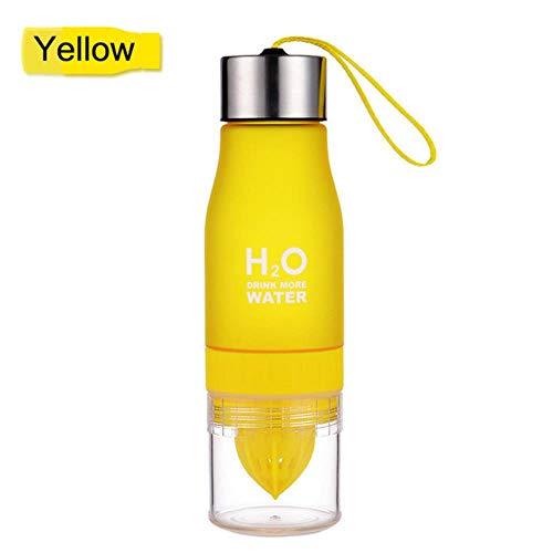 Waterfles Citroensap Fruit Matte plastic fles voor watersport Waterflessen Drinken Sapfles Gym Shaker, geel