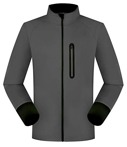 Outto Men's Winter Fleece Cycling Jacket Bike Thermal Reflective Windproof Water-Resistant(Medium,Gray)