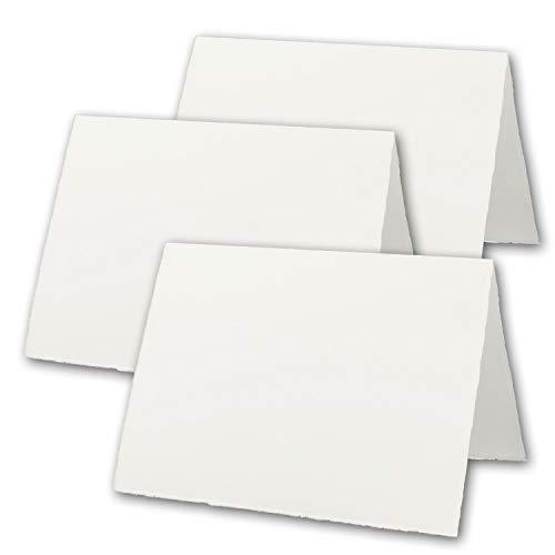 50x DIN A5 Vintage Falt-Karten, echtes Bütten-Papier, 148 x 210 mm - hoch-doppelt, Natur-Weiß 240 g/m² - Vellum Oberfläche - Original Zerkall-Bütten