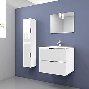 Randalsa Mueble de baño 60 cm Noube Moderno | Blanco 61 x 51 x 46 cm Mueble + Lavabo cerámica + Espejo | 2 Cajones