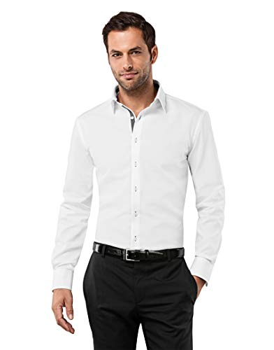 Vincenzo Boretti Herren-Hemd bügelfrei 100% Baumwolle Slim-fit tailliert Uni-Farben - Männer lang-arm Hemden für Anzug Krawatte Business Hochzeit Freizeit weiß/anthrazit 39/40