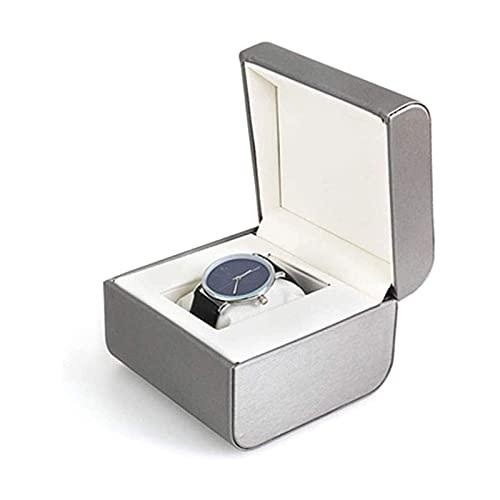 Sunmong Caja de Reloj Caja de joyería Paquete de joyería Brazalete Pulsera Cajas de Reloj para Hombres y Mujeres Reloj Individual Cajas de Regalo Caja organizadora de joyería (Color: Plata)