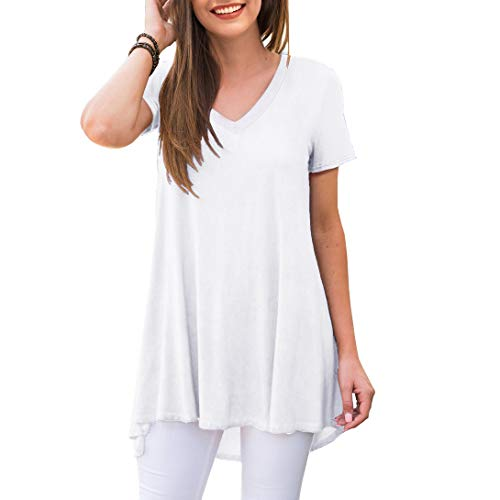 AWULIFFAN Women's Summer Short Sleeve V-Neck T-Shirt Short Sleeve Sleepwear Tunic Tops Blouse Shirts(White,XX-Large)