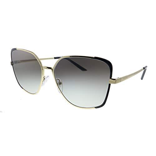 Prada PR 60XS AAV0A7 Pale Gold Black Metal Butterfly Sunglasses Grey Gradient Lens