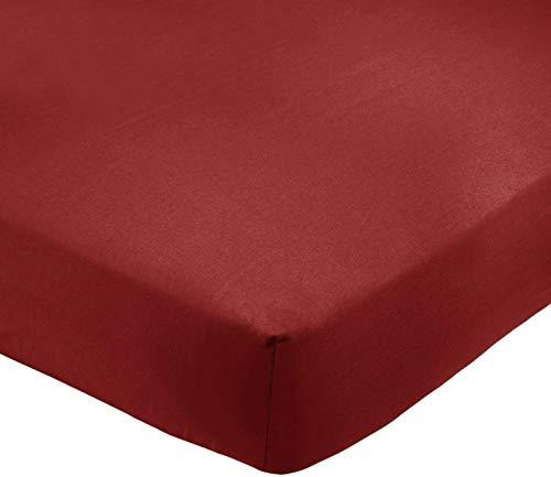 Amazon Basics AB 200TC Poly Cotton, Combinación de algodón, Burdeos, 90 x 200 x 30 cm