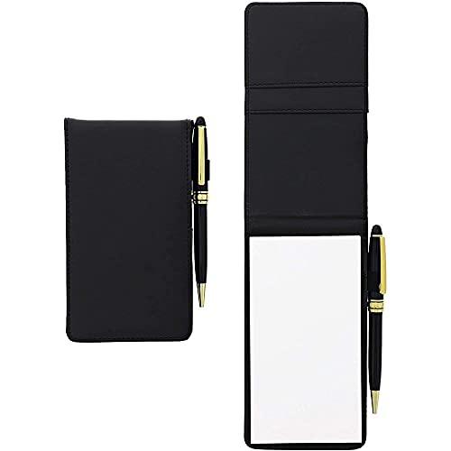 Paper Junkie Notizblock mit Stift aus Kunstleder (Set, 2 Stück) - Handlich, Inklusive 2 Kreditkartenfächern - Ideal für Unterwegs, Handtasche, Aktentasche - Schwarz, 16 x 8,9 cm - AUSVERKAUF