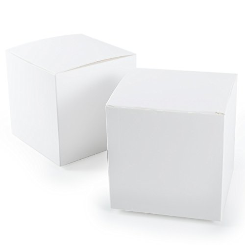 CLE DE TOUS - Set de 50 Cajas para dulces bombones Caja kraft Blanco de boda regalo Rústico 10x10x10cm Cajita de cuadro Grande Kraft Paper Blanco