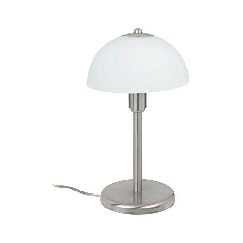 Paulmann 770.18 Ella Tischleuchte max.1x40W E14 230V Metall/Glas Nickel gebürstet/opal 77018 Nachttischlampe Nachtlicht