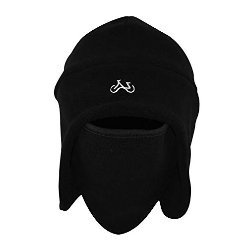 FREETT Männer Winter Warmer Hut Multifunktion Vlies Wintermütze mit Schutzmaske und Ohrenschützer Weiches Kindermütze für Draussen Radfahren Bewegung, Size 56-60 cm,Schwarz