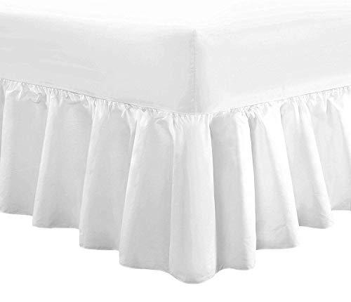 Divine Textiles - Sábana bajera ajustable con faldón de volantes, algodón algodón poliéster, Blanco, Doublé