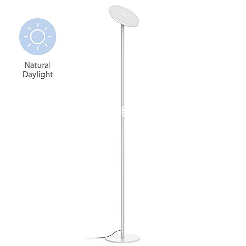 TROND LED Torchiere Floor Lamp, Modern Pole Light Dimmable 30W, 5500K Natural Daylight (Not Warm Yellow), Max. 5000lm, 71-Inch, 30-Minute Timer, Silver