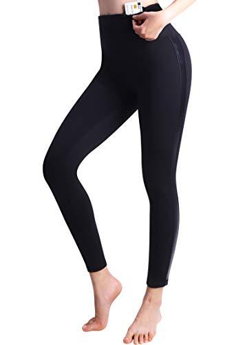 3W GRT Femme Pantalon Décontracté, Pantalon De Sport Femme, Pantalon De Yoga Femme, Femme Pantalon De Yoga Taille Haute (Noir-Doublure polaire, M)