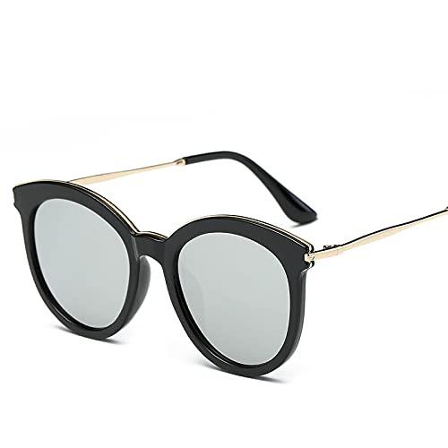 JINZUN Gafas de Sol de Calle con Personalidad Gafas de Sol de Montura Redonda de Moda Visera de Sol Gafas Anti-UV Montura Negra Mercurio Blanco