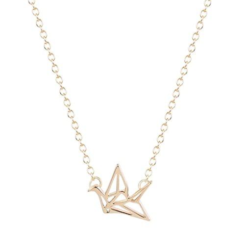 SoulSisters Lieblingsschmuck Halskette 18k vergoldet im minimalistischen Stil mit Origami Crane Anhänger