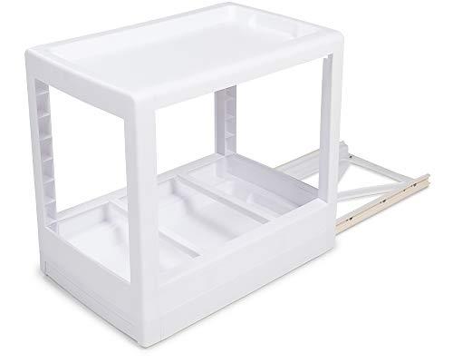 Ondis24 Küchen Unterschrank Regal, Küchenregal Mobilo schmal, weiß, Schrankeinsatz mit Führungsschienen, Einbauregal Bad