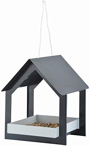 "Esschert Design Futterhaus, hängend, in anthrazit/weiß, aus dem Material ""Metall"", 19,3 x 19,1 x 23,2 cm"