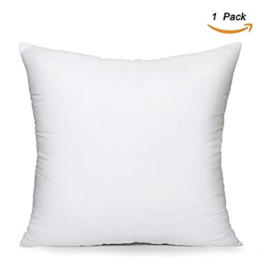 EVERMARKET Square Poly Pillow Insert, 18  L X 18  W, White (1)