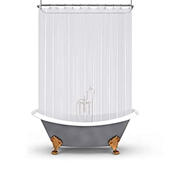 Mrs Awesome Clawfoot Tub Shower Curtain or Liner with 12 Magnets - Free 36 Hooks Included Waterproof PEVA 180  x 70  Clear