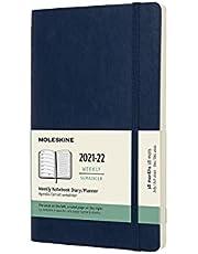 Moleskine 18 Monate Wochen Notizkalender 2021/2022, Large/A5, 1 Wo = 1 Seite, rechts linierte Seite, Weicher Einband, Saphir