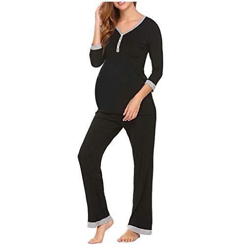 DolceTiger Pyjama Grossesse Ensemble Haut et Bas Vêtement Allaitement Femme, Chemise de Nuit Allaitement Femme Ensemble de Nuit Maternité d'allaitement Vêtements