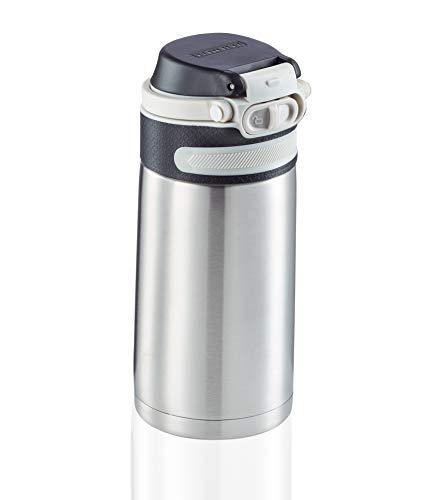 Leifheit Botella térmica Flip (350 ml) con tapón de rosca, vaso hermético con bloqueo adicional contra fugas, termo portátil, uso con una mano, plateado