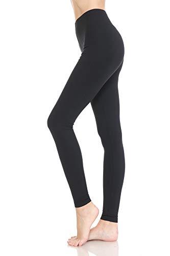 HLD128SZ-BLACK-L Active Flex Solid Leggings, Large