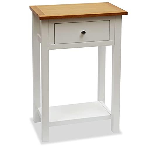 LUYIPINGQIWND Colore: Bianco e Marrone Tavolino da Salotto 50x32x75 cm in Massello di Rovere Tavoli