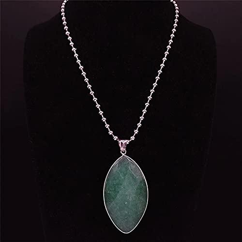 QiuYueShangMao Collar con Dije de Acero Inoxidable de Piedra Natural Verde Hoja, Collar Largo Grande de Color para Mujer, joyería, Collar de Amistad Regalo de cumpleaños