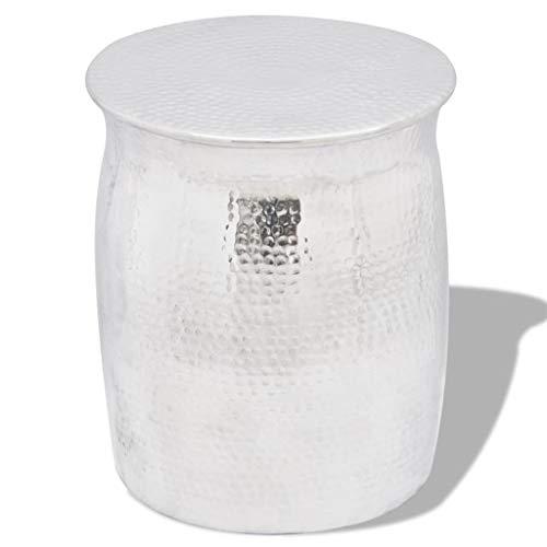 vidaXL Beistelltisch Gehämmertes Aluminium Silbern Hocker Sofatisch Couchtisch