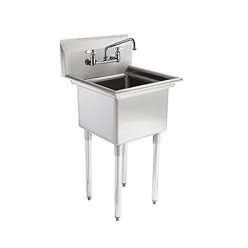 """AmGood Commercial Stainless Steel Sink - 1 Compartment Restaurant Kitchen Prep & Utility Sink with 10"""" Faucet. NSF Certified. (22"""" Width x 20"""" Length)"""