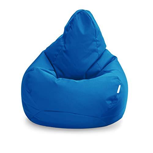 Loft 25 Puff Pera Gamer | Silla Puff Pera para Exteriores Interiores Sala | Resistente Al Agua | Limpieza Facil | Diseno Ergonomico para Soporte del Cuerpo | Durable Y Comoda (Marroqui Azul, Puff)