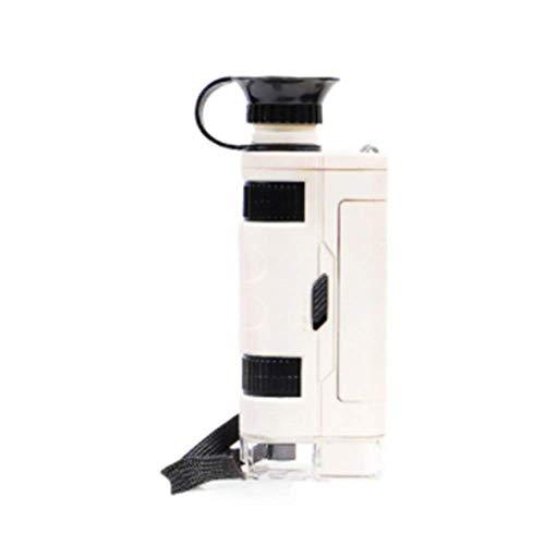 CCCYT Microscopio de Bolsillo, Aumento 80x-120x, con luz LED y Adaptador de para Smartphone Microscopio de Mano HD