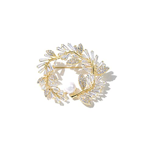 JIANGCJ Good temperament brooch pins for women Brooles pinning anti-lighting braq female luxury temperament round cute personality suit chest flower pin