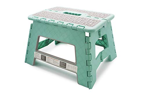 "Brookstone BKH1101 9"" Folding Step Stool for Adults and Kids with Supervision NonSlip Textured Grip Surface Foldable Space Saving Design Carrying Handle Holds Up to 300 Pounds Mint"