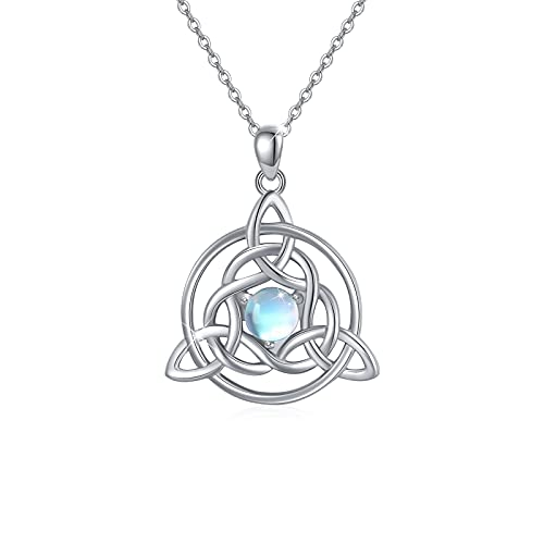 Celtic Necklace Sterling Silver Irish Celtic Knot Pendant Necklace Moonstone Celtic Jewelry Gifts for Women Girls