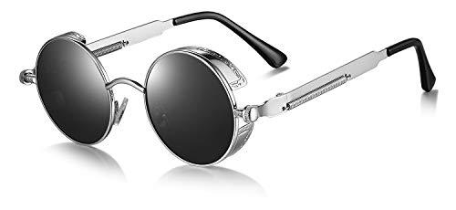 WHCREAT Retro Rund Polarisierte Sonnenbrille UV400 Schutz Steampunk Stil Brillen - Silber Rahmen Schwarze Linse