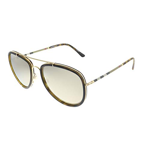 Burberry BE 3090Q 10525A Brushed Gold Matte Havana Metal Aviator Sunglasses Dark Gold Mirror Lens